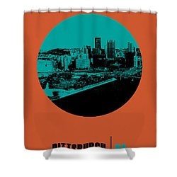 Pittsburgh Circle Poster 1 Shower Curtain by Naxart Studio