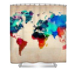 Pixelated World Map Shower Curtain by Naxart Studio
