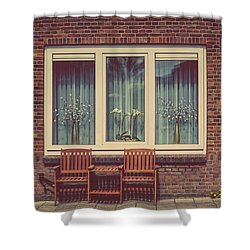 Place Just For Two. Pink Spring In Amsterdam Shower Curtain by Jenny Rainbow