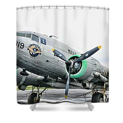 Plane Naval Air Transport Service Shower Curtain by Paul Ward