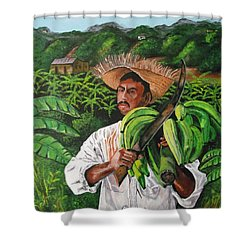 Platano Man Shower Curtain by Luis F Rodriguez