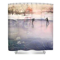 Playing On Ice Shower Curtain by Yoshiko Mishina