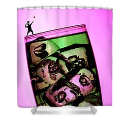 Playing Tennis On A Cup Of Lemonade Little People On Food Shower Curtain by Paul Ge