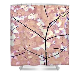 Plum Cream Leaves Melody Shower Curtain by Jennie Marie Schell