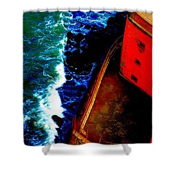 Plunging From Golden Gate Shower Curtain by Holly Blunkall