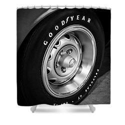 Plymouth Cuda Rallye Wheel Shower Curtain by Paul Velgos