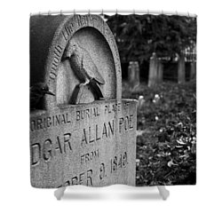 Poe's Original Grave Shower Curtain by Jennifer Ancker