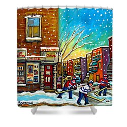 Pointe St. Charles Hockey Game At The Depanneur Montreal City Scenes Shower Curtain by Carole Spandau
