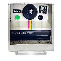 Polaroid Camera.  Shower Curtain by Les Cunliffe
