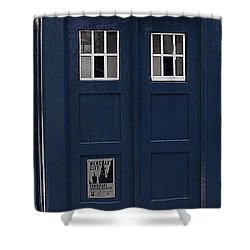 Police Phone Box Shower Curtain by Philip Ralley