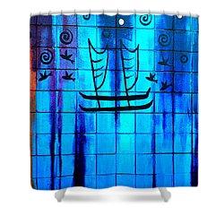 Polynesian Graffiti  Shower Curtain by Karon Melillo DeVega