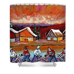 Pond Hockey Game 2 Shower Curtain by Carole Spandau