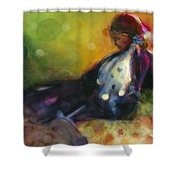 Pondering The Cosmos Shower Curtain by Jen Norton