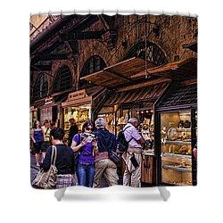 Ponte Vecchio Merchants - Florence Shower Curtain by Jon Berghoff