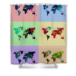 Pop Art World Map Shower Curtain by Naxart Studio