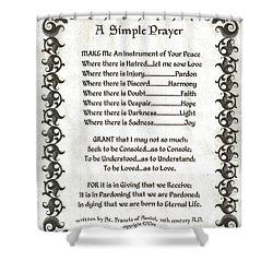 Pope Francis St. Francis Simple Prayer Fleury Of Faith Shower Curtain by Desiderata Gallery
