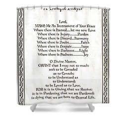 Pope Francis St. Francis Simple Prayer Leaf Parchment Shower Curtain by Desiderata Gallery