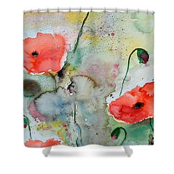 Poppies - Flower Painting Shower Curtain by Ismeta Gruenwald