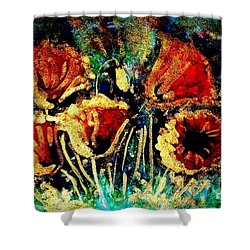 Poppies In Gold Shower Curtain by Zaira Dzhaubaeva