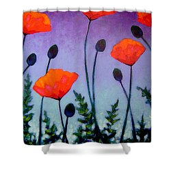 Poppies In The Sky II Shower Curtain by John  Nolan