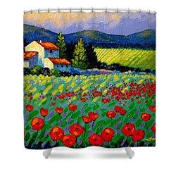 Poppy Field - Provence Shower Curtain by John  Nolan