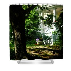 Porch With Pot Of Chrysanthemums Shower Curtain by Susan Savad