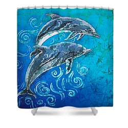 Porpoise Pair Shower Curtain by Sue Duda