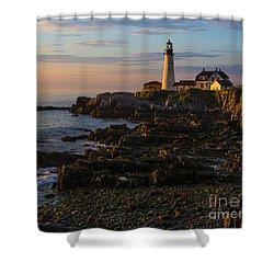 Portland Head Lighthouse At Dawn Shower Curtain by Diane Diederich