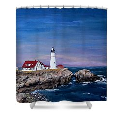 Portland Head Lighthouse Shower Curtain by Jack Skinner