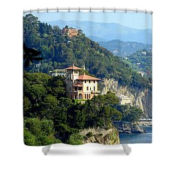 Portofino Coastline Shower Curtain by Carla Parris
