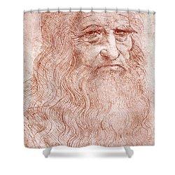 Portrait Of A Bearded Man Shower Curtain by Leonardo da Vinci