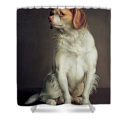 Portrait Of A King Charles Spaniel Shower Curtain by Louis Leopold Boilly