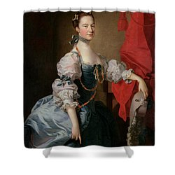 Portrait Of A Lady In A Blue Gown Shower Curtain by Thomas Hudson
