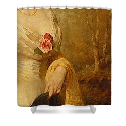 Portrait Of A Lady In A White Dress Shower Curtain by George Elgar Hicks