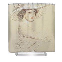 Portrait Of A Woman Shower Curtain by  Paul Cesar Helleu