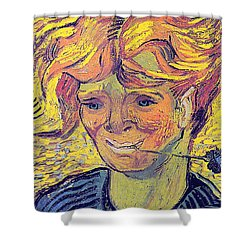 Portrait Of A Young Man With Cornflower Shower Curtain by Vincent Van Gogh
