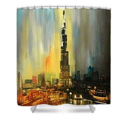 Portrait Of Burj Khalifa Shower Curtain by Corporate Art Task Force