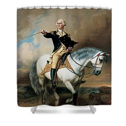 Portrait Of George Washington Taking The Salute At Trenton Shower Curtain by John Faed