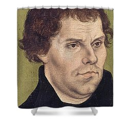 Portrait Of Martin Luther Aged 43 Shower Curtain by Lucas Cranach