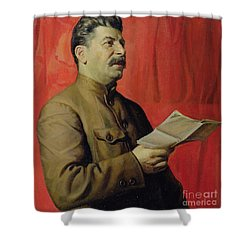 Portrait Of Stalin Shower Curtain by Isaak Israilevich Brodsky