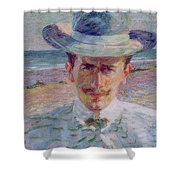 Portrait Of The Lawyer Shower Curtain by Umberto Boccioni