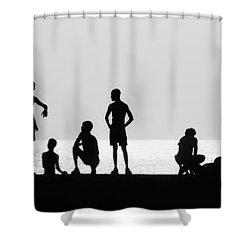 Posing Shower Curtain by Erik Brede