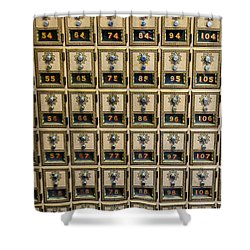 Post Office Combination Lock Boxes Shower Curtain by Sue Smith