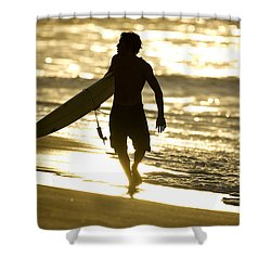 Post Surf Gold Shower Curtain by Sean Davey