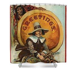 Postcard Of Pilgrim Plucking A Turkey Shower Curtain by American School