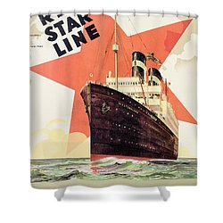 Poster Advertising The Red Star Line Shower Curtain by Belgian School