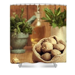 Potatoes Shower Curtain by Amanda Elwell
