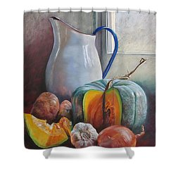 Potential Pumpkin Soup Shower Curtain by Lynda Robinson