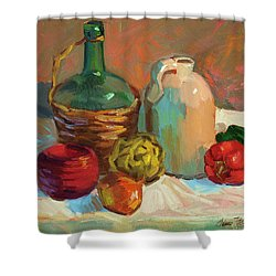 Pottery And Vegetables Shower Curtain by Diane McClary