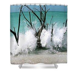 Power Wave  Shower Curtain by AR Annahita